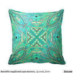 Beautiful complicated cyan moroccan ornament. pillow  Moroccan ornament make interior unique and add aesthetics sense. Ornament create in oriental tradition. #Home #decor #Room #accessories #Interior #decorating #Idea #Styles #abstract