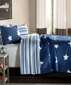 Look at this Navy Star Quilt Set on #zulily today!