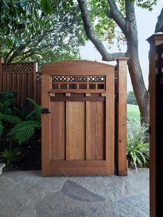 Awesome Art and Crafts Style Ideas for Home Design : Traditional Landscape Wooden Gate Door Transformation Into Craftsman Gem Wooden Gate Door, Wooden Garden Gate, Wooden Fence, Concrete Fence, Door Gate, Cedar Fence, Concrete Backyard, Gate 2, Rustic Fence