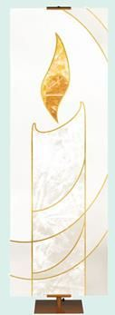 Liturgical banner in white and gold