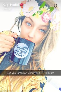 See you tonight! She teased her appearance on her Snapchat Saturday as she shared a selfie with the flowers feature as she held up a The Tonight Show With Jimmy Fallon mug