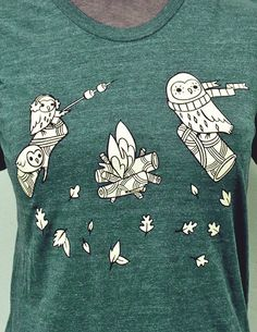Comfy + cute + made for fall weather. Forest Green Campfire Owls t-shirt from the boygirlparty shop: https://www.etsy.com/listing/204268213/woodland-owls-t-shirt-campfire-tshirt