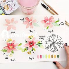 Easy Watercolor Flowers Step by Step Tutorial. Learn how to paint these lovely florals with a detailed step by step lesson from Torrie of Fox + Hazel. Easy Watercolor Flowers Step by Step Tutorial Great little watercolor project for beginners with helpful Watercolor Flowers Tutorial, Step By Step Watercolor, Watercolour Tutorials, Flower Tutorial, Simple Watercolor Flowers, Watercolor Painting Techniques, Watercolor Tips, Watercolor Cards, Floral Watercolor