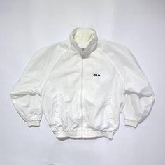 Vintage 90s FILA White Jacket // Embroidered Logo // 90s Fashion Outfits // Retro Streetwear // Windbreaker // Oldschool // men // women // unisex // Rare Clothing Clothes Items // etsy