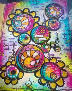 Tracy Scott's Art - Playing in my new Dina Wakley media journal - art journal page with Dylusions stamps and Paperartsy paints