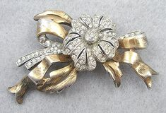 1940's Sterling Vermeil Rhinestone Flower Brooch - Garden Party Collection Vintage Jewelry
