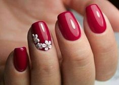 Irresistible Gel Nail Designs You Need To Try In 2017 - Easy Gel Nails Designs We've gathered some of the finest nail art designs. Make sure you check them out.We've gathered some of the finest nail art designs. Make sure you check them out. Cute Red Nails, Red Gel Nails, Red Manicure, Short Gel Nails, Red Nail Art, Manicure Ideas, Shellac Designs, Gel Nail Art Designs, Winter Nail Designs