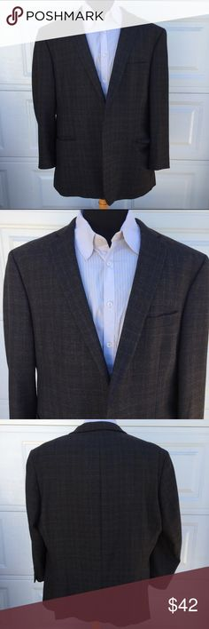 Mens Calvin Klein Plaid 100% Wool Blazer 50R. You're purchasing a Mens Calvin Klein Purple Charcoal Plaid 100% Wool Blazer, Suit Jacket size 50R.  2 rear vents/Fully Lined. Pre-Owned in good condition. Made to make you look frickin Awesome!  (Flawed - missing 2 front buttons.)  I hand measure for accuracy, please do the same. (See pics for measurements.)  All blazers are safely and neatly packaged inside out to protect the buttons and exterior. Calvin Klein Suits & Blazers Sport Coats…