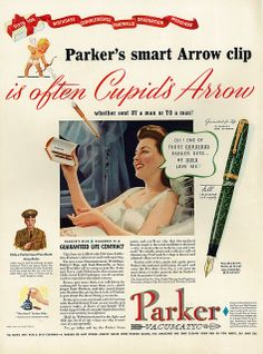 "1941 Technology Ad, Parker Pen Set, WWII, ""Cupid's Arrow"" by classic_film, via Flickr"