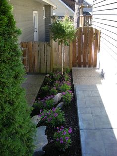 Narrow Side Yard With Arbor Diagonal Pavers Planters And