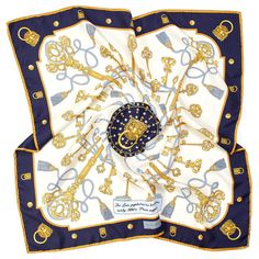 Lion & Key Silk Scarf in Navy   Aspinal of London Aspinal Of London, Scarf Design, Textile Artists, Silk Scarves, Pure Silk, Lions, Textiles, Key, Pure Products