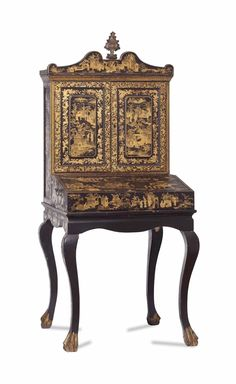 A Chinese Export Black And Gilt Lacquer Writing Desk 19th Century