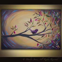 Pájaro en una pintura de rama sobre lienzo enorme art 36 x 24