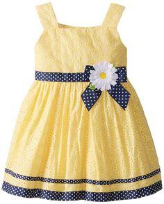 Eyelet vestido Youngland Little Girls 'com Grosgrain Trim, Amarelo, 6X