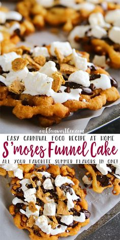 Easy S'mores Funnel Cake brings your favorite summer flavors together. Graha… Easy S'mores Funnel Cake brings your favorite summer flavors together. Graham cracker funnel cake topped with hot fudge & marshmallow sauce is so good! via Kleinworth & Co. Funnel Cake Recipe Easy, Homemade Funnel Cake, Easy Cake Recipes, Homemade Cakes, Sweet Recipes, Funnel Cake Topping Recipe, Carnival Funnel Cake Recipe, Homemade Recipe, Recipe Recipe