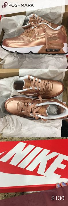 Nike air max 90 rose gold Brand new and never worn. Nike Shoes Sneakers