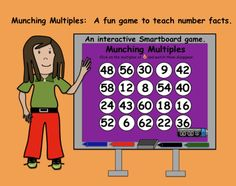 Munching Multiples: An interactive Smartboard game to teach number facts. Teaching Multiplication, Teaching Math, Creative Teaching, Fractions, Teacher Memes, Teacher Education, Teacher Stuff, Math Resources, Math Activities