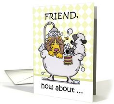 Happy Birthday for Friend-Lion and Lamb -Bubbly card