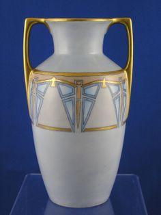 Moritz Zdekauer (MZ) Austria Art Deco Butterfly Motif Handled Vase (c.1884-1909)