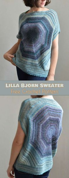 Lilla Bjorn Sweater in Sizes from S to 2XL Free Pattern and Video Tutorial This beautiful pattern was designed by the very talented designer Tatsiana Kupryianchyk and will be perfect for summer. Size: S/M (L/XL, 2X). There are 3 sizes of the pattern available and it can be easily adjusted for your exact size. You can wear the Lilla Bjorn Sweater all year round by joining it with different sleeves tops. #freecrochetpatterns #sweater #womensfashion #summerstyle
