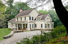 simple farmhouse with charming drive