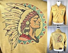 VTG Super-RARE! Ralph Lauren Country Indian Hand Painted Leather Jacket Polo L M