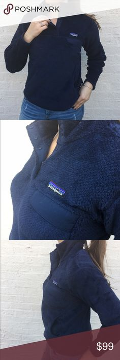 Patagonia Women's Re-Tool Snap-T Pullover. Patagonia Women's Re-Tool Snap-T Pullover In Navy Blue, New With Tags (25442-NVYX). Deep-pile fleece with 51% recycled polyester has extra-long fibers for warmth retention Stand-up collar has double fleece for warmth front placket hides the 4-snap closure and is reinforced with Supplex nylon Yoke and princess seams add contouring and shaping Brushed polyester micro-fleece trim on cuffs and hem Supplex nylon chest pocket flap with stay-put envelope…