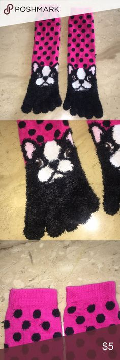 Children's Fuzzy Toe Socks French Bulldog Pink with Black Polka Dots, Toe Socks, Fun and Cozy! Only worn ONCE! Perfect Condition! Pet free and smoke free home 💝 Accessories Socks & Tights