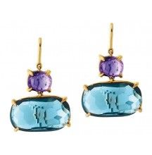 Marco Bicego Murano Amethyst and Blue Topaz Drop Earrings from James Free Jewelers.