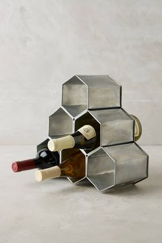 Anthropologie Honeycomb Wine Holder perfect for storing wine on counter or hang on the wall. Stylish way to store your wine. Kitchen Accessories, Home Decor Accessories, Decorative Accessories, Decorative Storage, Handmade Accessories, Decorative Items, Bedroom Minimalist, Ideias Diy, Diy Home