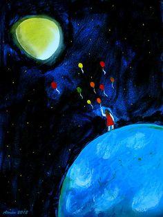 Moon Painting by artist Atousa Raissyan