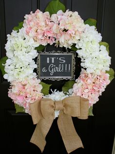 Hydrangea Wreath - Pink and White - 5x7 CHALKBOARD - Burlap - Spring - It's a Girl - Wedding Wreath - Year Round - LARGE Initial Monogram...