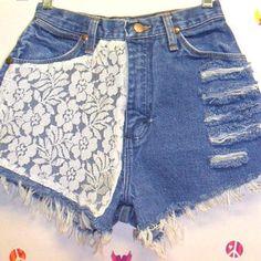 Vintage Wrangler High Waisted Denim Shorts  &   Lace---Waist  24  inches