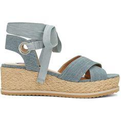 c3bf4e02873fb9 Miss Selfridge MAGIC Denim Flatform Sandals ( 76) ❤ liked on Polyvore  featuring shoes
