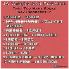 10 Words and Phrases that Too Many People Say Incorrectly