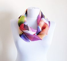 Pink Purple Lilac Yellow Infinity Scarf Aztec Print by aynurdereli