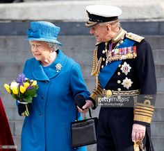 Queen Elizabeth II and Prince Philip, Duke of Edinburgh during a Service of Commemoration for troops who were stationed in Afghanistan on March 13, 2015 in London, England. Description from gettyimages.com. I searched for this on bing.com/images