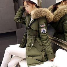Donne Inverno Army Green Giacca Cappotti Di Spessore Parka Plus Size Collo  Di Pelliccia Con Cappuccio 6b4ae04e52e