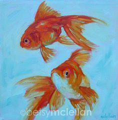 Goldfish Original Painting 10x10 by betsymclellanstudio on Etsy, $55.00