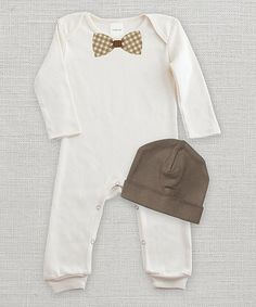 Look at this Ruff Truff Ivory Bow Tie Playsuit & Beanie - Infant on #zulily today!