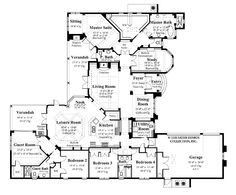 Floor Plans AFLFPW06075 - 1 Story Italianate Home with 5 Bedrooms, 3 Bathrooms and 3,993 total Square Feet