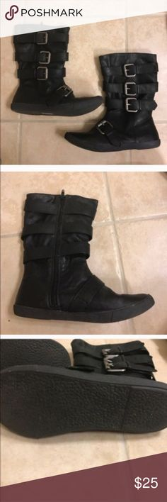 Blowfish black strappy Moto boots size 6 Blowfish black strappy Moto boots size 6 Blowfish Shoes Combat & Moto Boots