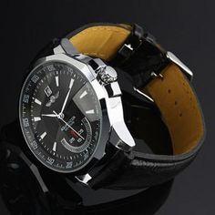 b11a30a6ddf4 2013 Stylish Men s Automatic Mechanical Wristwatch With Calendar 26 cm  Black Genuine Leather Watchband Reloj