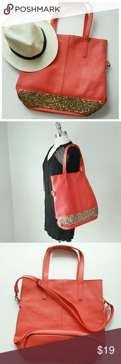 Coral Large Tote/Beach Bag - Coral and gold flat studs  - Faux Leather - 15 x 16 x 6.5in / strap adjusts to 24in at shortest - DRESS ALSO FOR SALE. PLEASE SEE LISTING Bags