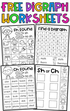 FREE ch, sh, th digraph worksheets. Your students will have so much fun completing these digraph worksheets. The mini packet features 4 worksheets which will allow your students to practice digraph sounds. Teaching Phonics, Kindergarten Learning, Phonics Activities, Teaching Reading, Kindergarten Literacy Centers, Phonemic Awareness Activities, Word Family Activities, First Grade Activities, Jolly Phonics
