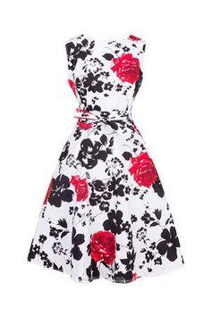 Women's Classy 1950s Vintage Audrey Hepburn Rockabilly Swing Dress Slash Neck Floral Print Summer Flare Party Dress Bow Sashes