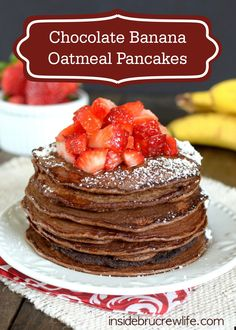 This Chocolate Banana Oatmeal Pancakes breakfast recipe is a fantastic go-to meal for Saturday mornings with your family! Quaker® Quick Tip: Top with your favorite seasonal fruits and powdered sugar for added flavor!