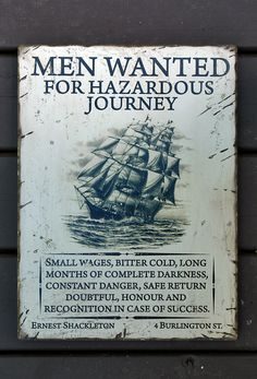 This August is the 100th Anniversary of the Imperial Trans-Antarctic Expedition (1914–17), also known as the Endurance Expedition by Ernest Shackleton. Commemorate this epic voyage with this unique hand crafted sign!