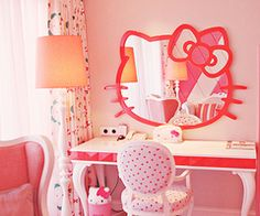 if i had a daughter &she was in love with hello kitty. i would do this to her room.