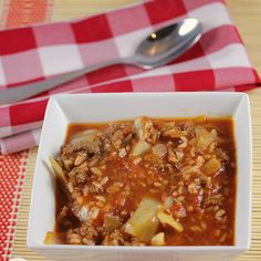 Cabbage Roll Soup Recipe Soups, Main Dishes with cabbage, ground beef, worcestershire sauce, salt, paprika, onions, garlic, water, oregano, basil, tomato sauce, diced tomatoes, rice